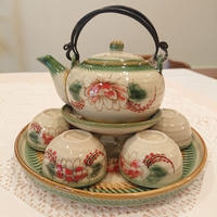 ベトナム バッチャン焼き 茶器セット シャクナゲ 緑の淵