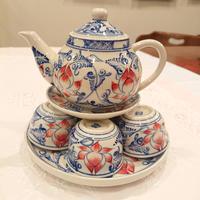 ベトナム バッチャン焼き 茶器セット 蓮花 青色