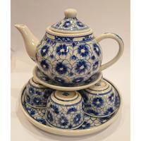 ベトナム バッチャン焼き 茶器セット 菊 藍色
