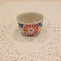 ベトナム バッチャン焼き 湯呑み茶碗  菊柄(青)