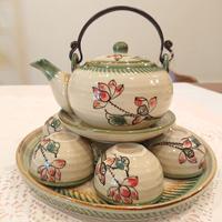 ベトナム バッチャン焼き 茶器セット 蓮の花 緑の淵