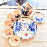 ベトナム バッチャン焼き 茶器セット タロイモにトンボ