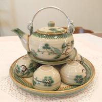 ベトナム バッチャン焼き 茶器セット グリーンの梅  緑の淵