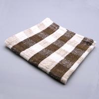 手紬ぎハンカチ (茶ギンガム) Handspun handkerchief (brown gingham)