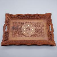 ローズウッドの真鍮装飾トレイ