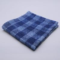 手紬ぎハンカチ (青2ギンガム)  Handspun handkerchief (blue gingham)