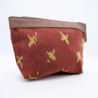 羊革イカットポーチ(赤)    Lamb leather ikat pouch(Red)
