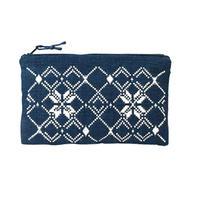 ラオスの藍染め手織り模様ポーチ