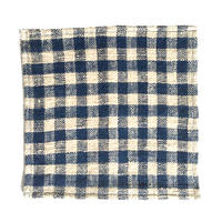 手紬ぎハンカチ (小青ギンガム)  Handspun handkerchief (small blue gingham)
