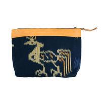 羊革イカットポーチ(青)  Lamb leather ikat pouch(Blue)