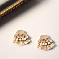 Fringe bijou pierces / earrings - Beige