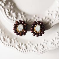 Wood bijou earrings - White opal