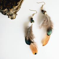 Feather blown&green pierces / earrings [2]
