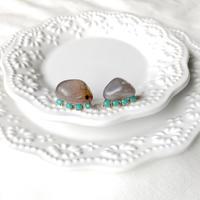 Gemstone pierces - Purple agate