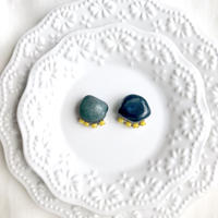 Gemstone  pierce / earring - Blue agate