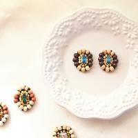 Wood bijou pierces / earrings - Indigo lights