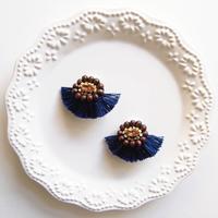 Volume fringe earrings - Navy