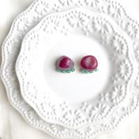 Gemstone pierce/earring - Pink agate2
