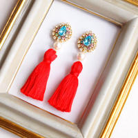 Tassel*bijou pierces / earrings - Light turquoise