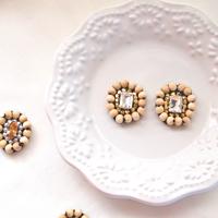 Wood bijou pierces / earrings - crystal