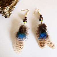 Feather brown&blue pierces / earrings [1]