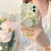 Green flower shell grip iphone case