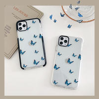 Blue butterfly white black side iphone case