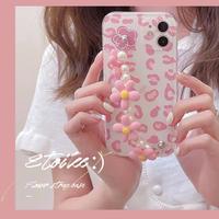 Pink leopard flower strap iphone case