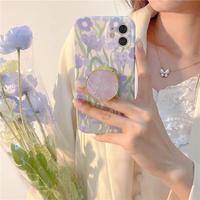 Purple flower shell grip iphone case