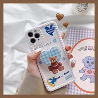 Cutiebear with  check grip iphone case