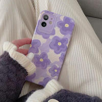 Purple flower drawing iphone case