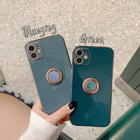 Green bluegrey metal color grip iphone case
