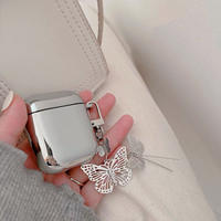 Silver butterfly airpods case