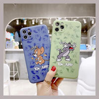 Mouse cat pattern green blue iphone case