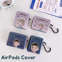 Cartoon boy girl doubt angry airpods case