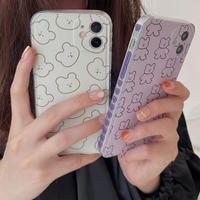 Bear pattern heart side iphone case