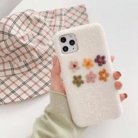 Flower white fur iphone case