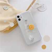 Smile flower clear strap iphone case