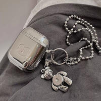 Happy bear silver airpods case