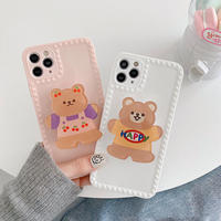 Pink white bear grip iphone case