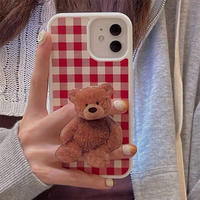 Red check bear grip iphone case