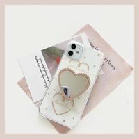 Gold heart mirror grip iphone case