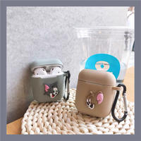 Mouse cat grey beige airpods case