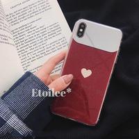 Beige heart red mirror iphone case