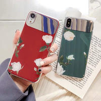 Flower red green mirror  iphone case