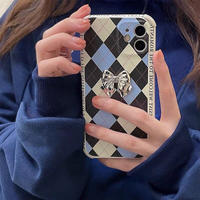 Silver ribbon blue check iphone case