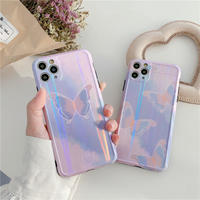 Butterfly pink-purple laser iphone case