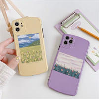 Yellow purple flower drawing iphone case