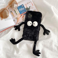 Black monster fur iphone case