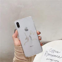 Gold face line clear iphone case